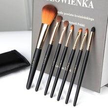 Ensemble de pinceaux de maquillage, ombre à paupières, brosse à sourcils, fond de teint, brosse à lèvres, outils de beauté, avec sac à cosmétiques, 7 pièces