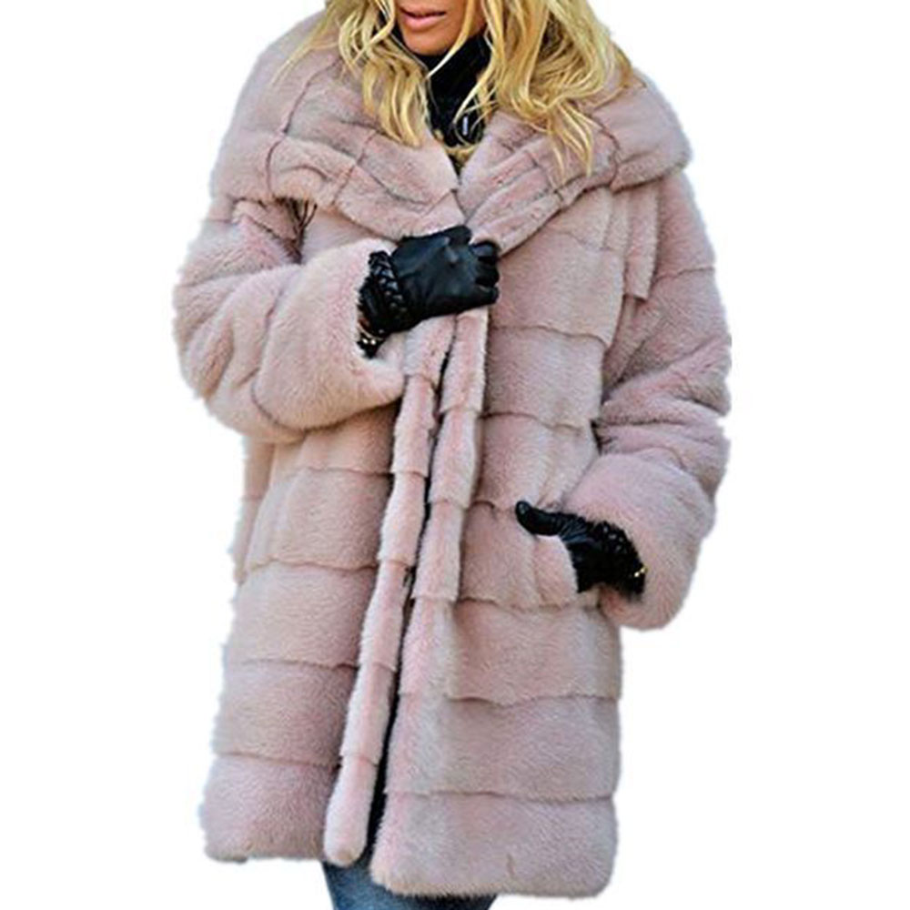 Plus Size S-5XL Long Faux Fur Coat With Hood Winter Fox Fur Jacket Women Plush Teddy Lazy Pure Pink Overcoat Warmness Outwear