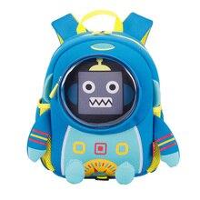 New Blue Robot School Backpack for Children Boys School Bags 3D Bear Design Waterproof Girl Kids Bags mochila infantil