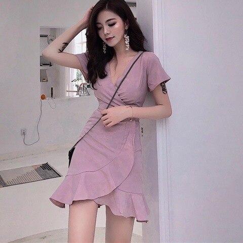 Stylish Women V collar irregular flounces dress waist was thin Solid beach holiday dresses female Islamabad