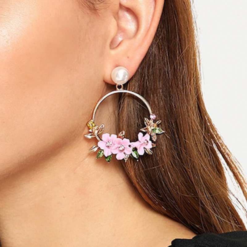 <font><b>Trendy</b></font> <font><b>Cute</b></font> <font><b>Pink</b></font> <font><b>Flower</b></font> Pearl <font><b>Earrings</b></font> <font><b>For</b></font> <font><b>Women</b></font> Jewelry Female Rhinestone Gold Metal Round Circle Drop <font><b>Earrings</b></font> Gifts Brincos image