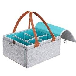 Duży na pieluchy organizer do wózka przedszkole dla dzieci kosz do przechowywania z zamkiem błyskawicznym pokrywką i uchwyt skórzany Baby Shower prezent chusteczki z dyszlem Bin H w Składane torby do przechowywania od Dom i ogród na