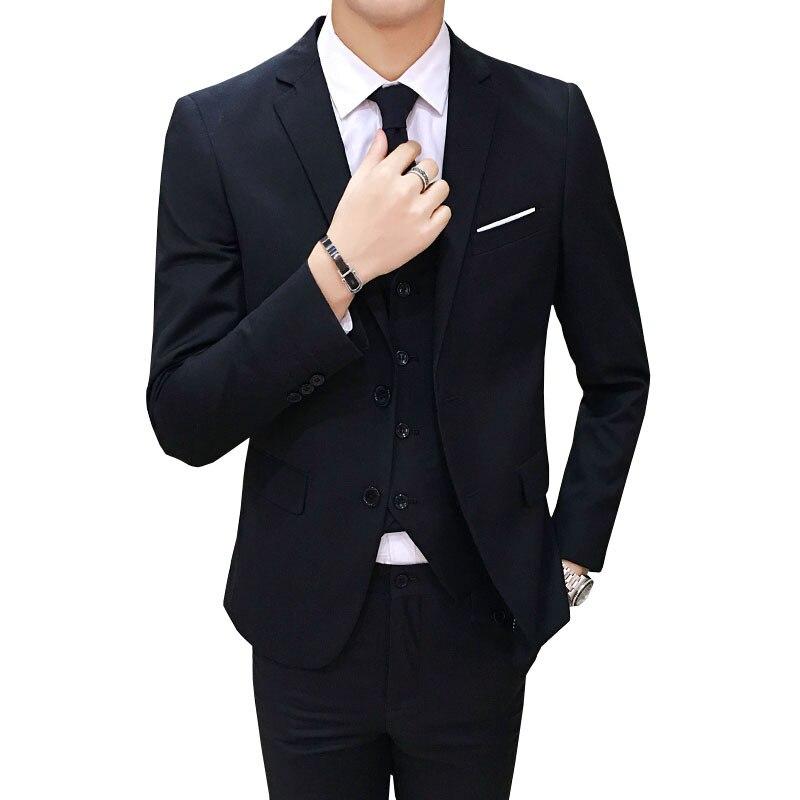 Suit Men Three-piece Set Slim Fit Korean-style Casual Suit Business Formal Wear Groom Marriage Formal Dress Best Man Suit