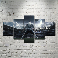 5 Panel Modern HD Print Cristiano Ronaldo Football Superstar Fabric Home Decor Art Poster Wall Canvas