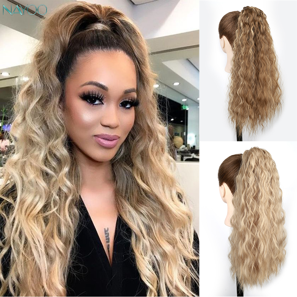22 Inch Long Corn Wavy Ponytail Hair Extension Magic Paste For Black White Women Synthetic Fake Hair Corn Hair Piece Black