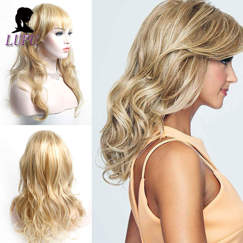 LUPU Long Wave Blonde Synthetic Wigs With Bangs For Women Cosplay Wigs Heat Resistant Natural Fake Hair African American