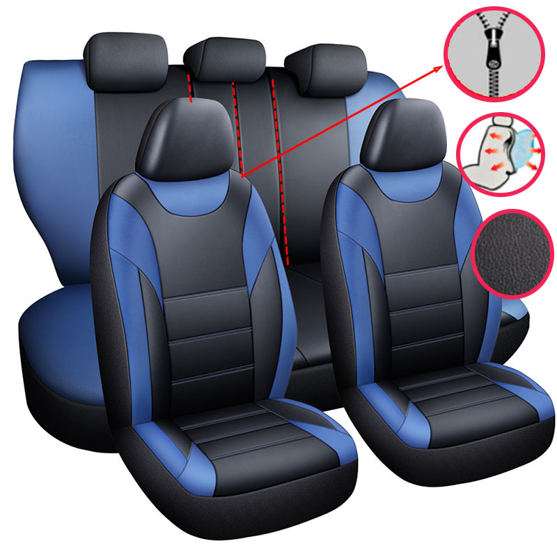 Leather Car <font><b>Seat</b></font> <font><b>Cover</b></font> Set Universal Accessories for <font><b>Honda</b></font> <font><b>Accord</b></font> 7 Civic 10th Crv 2003 2006 <font><b>2007</b></font> 2008 2011 2017 2018 2019 2020 image