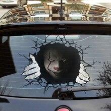 Etiqueta do horror do carro janela traseira adesivos pvc vinil envoltório filme 3d vidro transparente adesivos