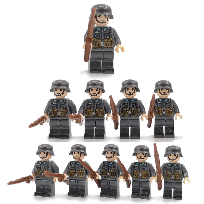 Soldiers Army 10pcs Figures Toy Military Sets WW2  Accessories With Weapons Guns Building Block Bricks Legoing Christmas Gift