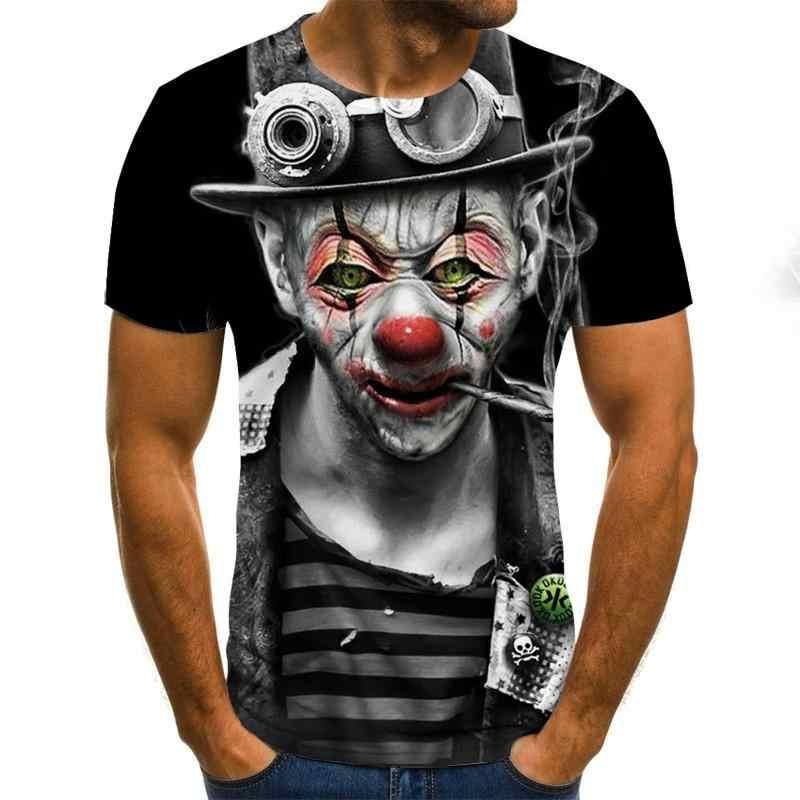 2020 ホット販売ピエロ 3Dプリントtシャツメンズジョーカーフェイス男性tシャツ 3dピエロ半袖面白いシャツトップス & tシャツXXS-6XL