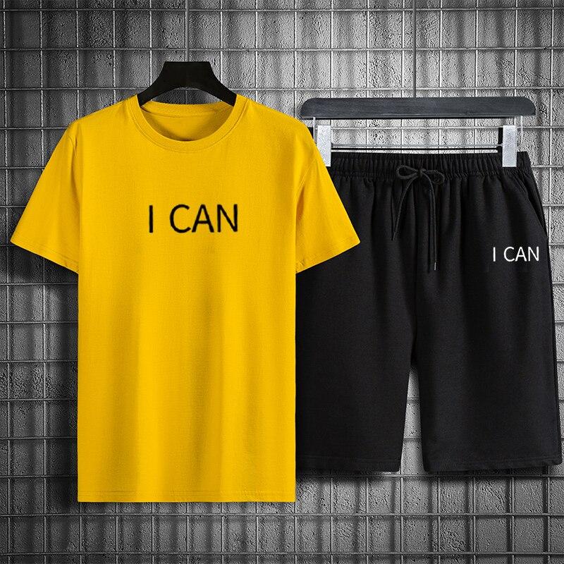 Мужской спортивный костюм из двух предметов, повседневный Быстросохнущий костюм с принтом букв, футболка и шорты с круглым вырезом, лето 2021