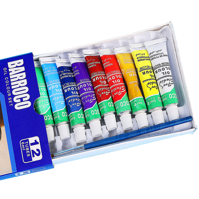 12colors/set Professional Oil Paints Colors Painting Drawing Pigments Art Supplies Art Set Oil Painting Set With1 Brush