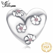 JewelryPalace Flower Heart 925 Sterling Silver Beads Charms Original For Bracelet original Jewelry Making
