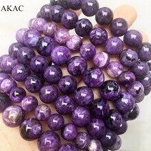 AKAC 8-13mm semi precious natural charoite bracelet smooth round loose beads