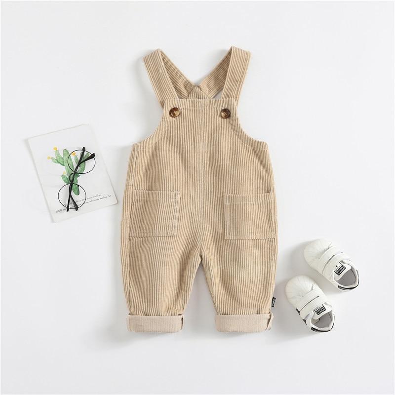 [Micro] CHILDREN'S Pants Small CHILDREN'S Corduroy Suspender Pants Men And Women Baby Spring And Autumn Dual Pocket Suspender Tr