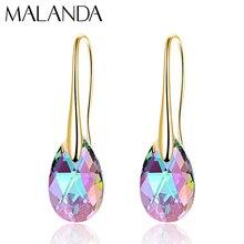 Серьги-капли с кристаллами Swarovski для женщин, новая мода, Золотой пирсинг, висячие серьги, свадебные украшения, подарок для девушек