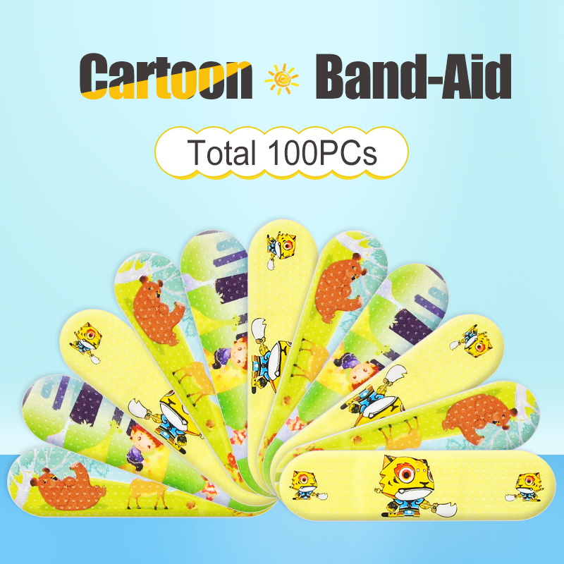 100PCS Cartoon Band Aid Cute Water Resistant Breathable Bandages First Aid For Kids Children Emergency Kit 5.0