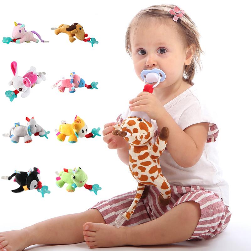 Baby Boy Baby Girl Dummy Pacifier Chain Clip Plush Animal Toys Soother Nipples Holder (not Include Pacifier) 0-1 Year