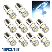10pcs 12V T11 BA9S 5SMD LEDs Bulb T4W 3886X H6W 363 5050 Super White Car Interior Dome Map Light Signal Lamp 10pcs heat durable t4w led ba9s cob 30ma round 3d t11 363 1 smd car license plate light bulb for car door lamp white 12v