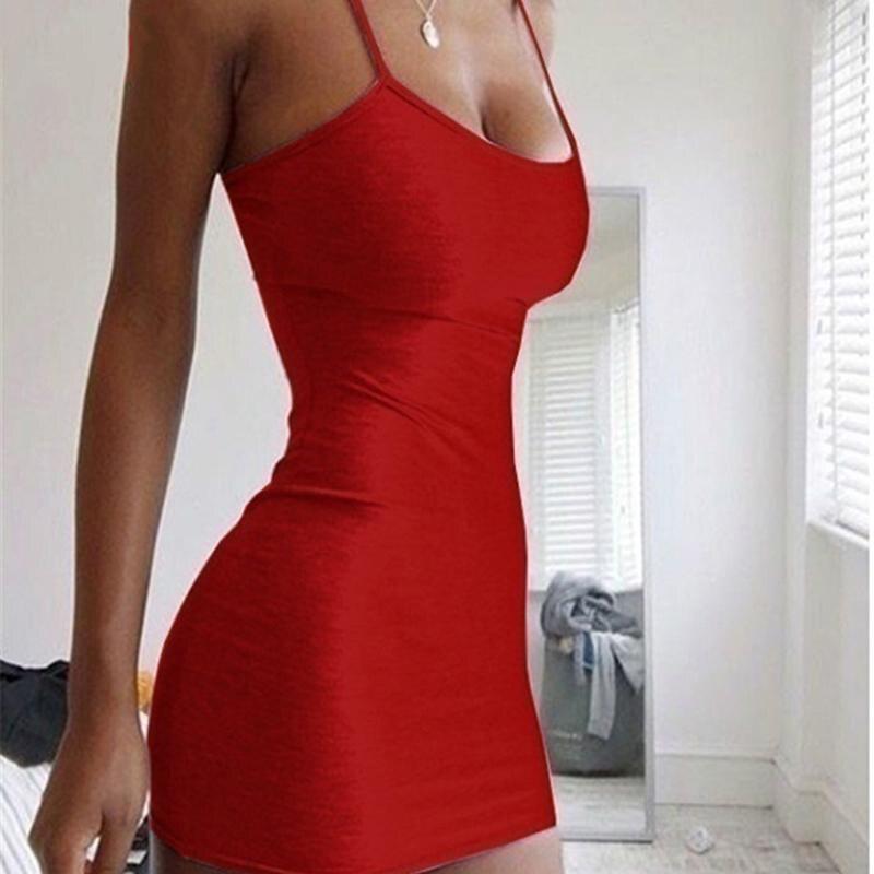 Sexy Spaghetti Strap Camisole Mini Dress Women Bodycon Club Party Dresses 2021 Summer New Pure Color Sundress Plus Size XS-5XL
