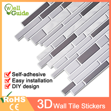 3D Wall Sticker Mosaic Brick Self-Adhesive Waterproof paper for Kitchen Bathroom Home Decal DIY Stickers