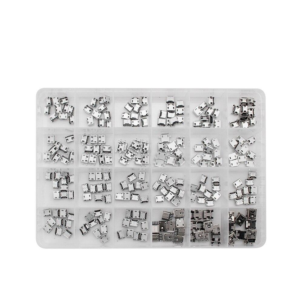 240pcs/Box 24-Models Connectors-Set Micro-Usb Socket-Jack