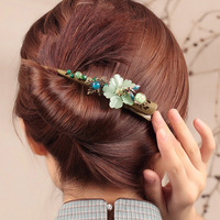 Coloured glaze Flower Large Hair grips Vintage Barrettes Jewellery Chinese Ethnic Hair Pins Ornaments Women Hair Accessory Clip