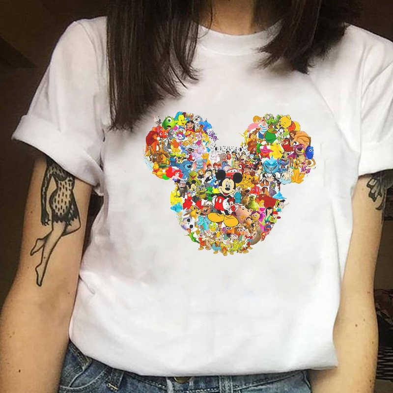 2019 vrouwen Mode Patroon Minnie T-shirt Muis Oorbeschermers Harajuku Meisjes T-shirts Mode Bijpassende vrouwen T-shirt Wit T-shirt