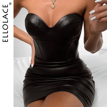 Ellolace Sexy Strapless Pu Leather Bodycon Dress Women Solid Backless Sleeveless Club Midi Dress Female Little Black Dress yellow bow tie front strapless zip back design midi dress