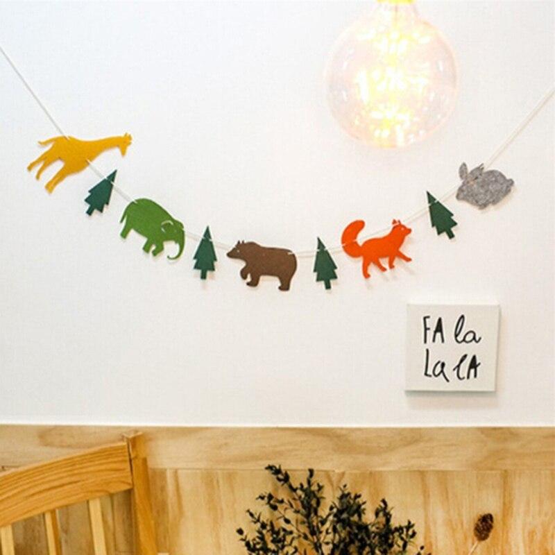 Мультфильм животных жираф слон твердые бумажные флаги Рождество День рождения поставки дерево овсянка детский душ Декор-баннер