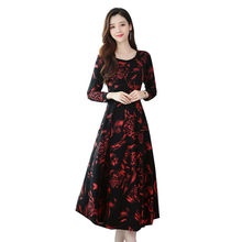 Fall 2019 Party Vintage Dress Cotton Polyester Casual Print A-Line O-Neck Plus Size Women Black Dresses Woman Night Sexy