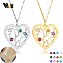 Vnox famille pierre de naissance colliers personnalisés pour femmes coeur arbre pendentif AAA CZ naissance pierres cadeau personnalisé pour sa maman