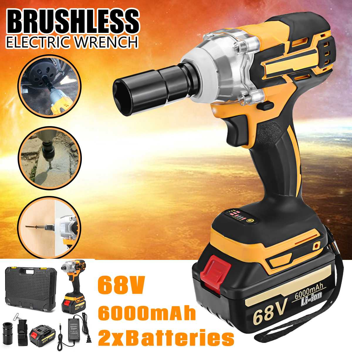 380 N.M Electric Wrench 68V 6000mAh 2 Batteries Brushless Cordless Drive Hand Drill Car Socket Electric Impact Wrench