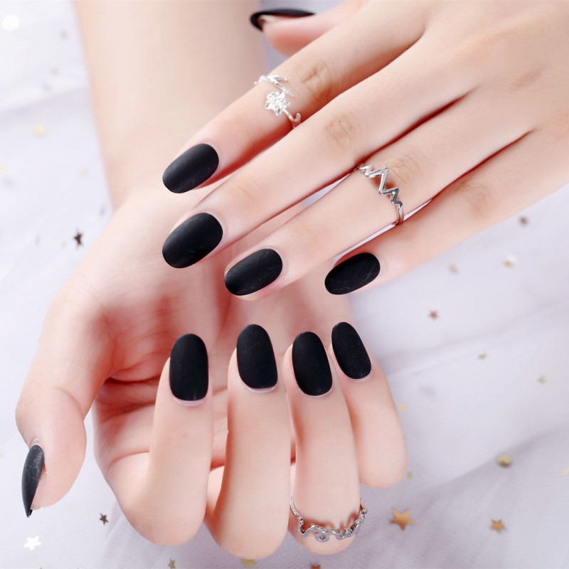Manicure Stickers Fake Nails At Any Time Wearing Removable Of Manicure Stickers Dull Polish Black Round-Toe Mid-length Nail Tip