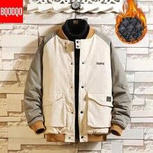 Korean Hip Hop Jacket Parkas Men Winter Cotton Thermal Fashion Jackets