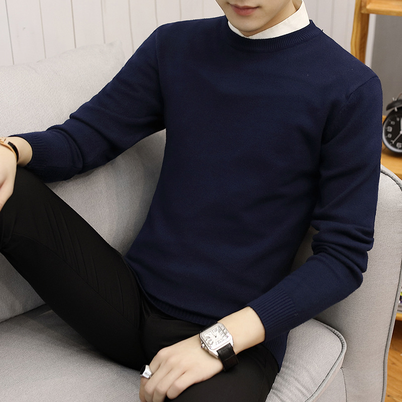 2019 Autumn New Style Men's O Neck Crew Neck Pullover Sweater Korean-style Solid Color Slim Fit Knit Base Shirt Men's Top-