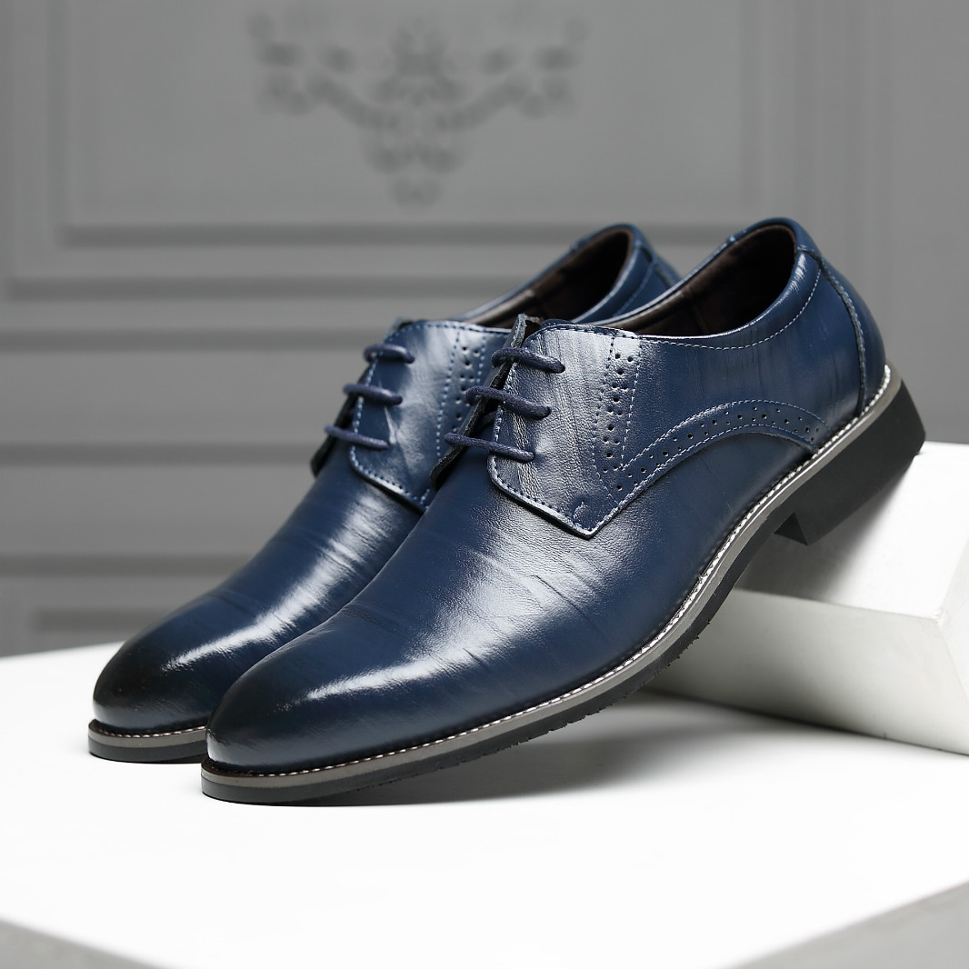 Image 4 - Reetene 革イタリアポインテッドトゥメンズドレスシューズレースアップウェディングパーティー靴男性クラシックレザーメンズスーツ男性オックスフォード正式な靴   -