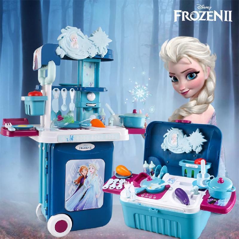 Disney Princess Frozen 2 Simulation Suitcase Kids Miniature Food Kitchenware Cooking Utensils Play House Kitchen Toys For Girls