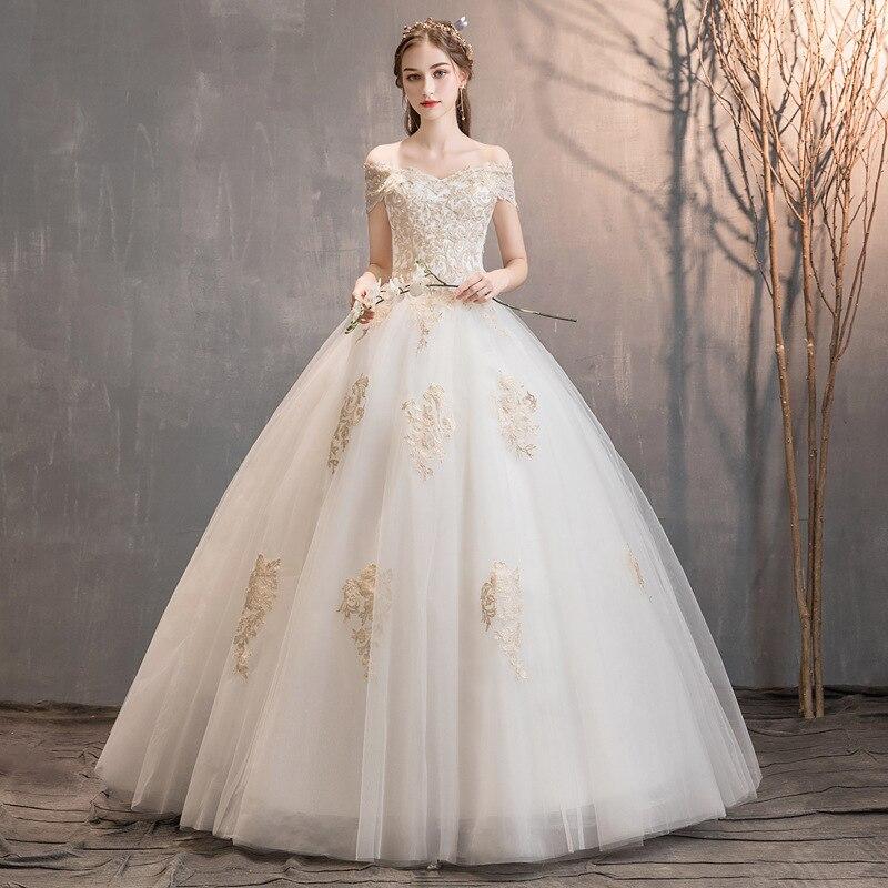 Luxury Wedding Dresses Lace Up Beaded Off The Shoulder V-Neck Ball Gown Tulle Elegant Formal Bride Gowns Vestido De Noiva 2020