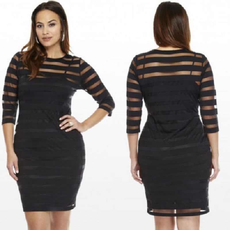 Frauen Kleidung Sexy Club Kleid Elegante Bodycon Bleistift Kleid 4XL Sommer Herbst Frauen Kleid Plus Größe Sehen-durch Kleid