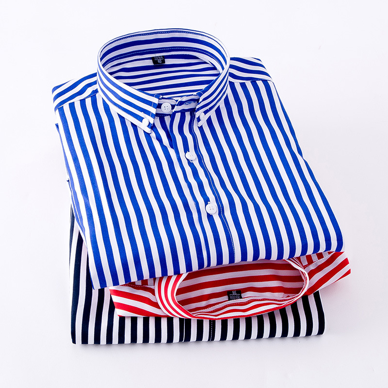 Striped Shirt Men's Long Sleeve Autumn Business Casual Printed Blue And White Men Loose-Fit Young And Middle-aged Shirt Daddy Cl