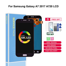 Original Super AMOLED For Samsung Galaxy A7 2017 A720M A720Y A720F A720 LCD Touch Screen Digitizer Assembly Replacement Parts(China)