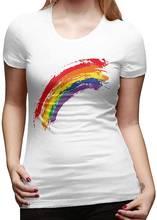 Женская Базовая футболка с коротким рукавом радужной акварели