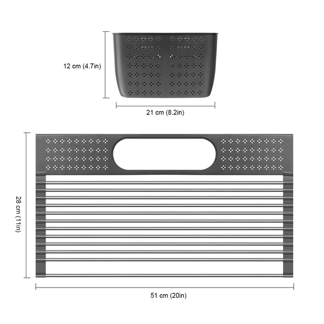 Dish Drainer Over Sink For Kitchen Organizer Multi-Use Roll-up Drying Foldable Rack  Fruit Vegetable Meat Mat Dropship 5