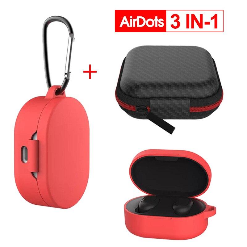 3 IN-1 Case Protection Cover Redmi AirDots Mi Air Dots Silicone Case Carabiner Wireless Bluetooth Case For Xiaomi Redmi AirDots