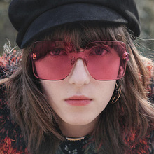 XIWANG Sunglasses Women Trendy Retro Siamese Lens Mirror Big Square Frame Candy Colors Casual Fashion Lovely 2019