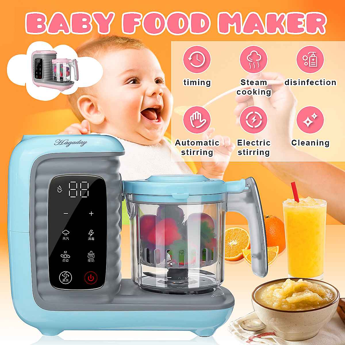 <font><b>5</b></font> in 1 Baby Feeding Food Maker New Children Multi-function Baby Food Processor Smart Infant Milk Warm Baby Food Cooking Blenders image