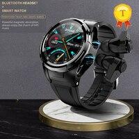 Reloj inteligente deportivo 2 en 1, reloj inteligente deportivo con TWS, Bluetooth, pantalla redonda, monitoreo de temperatura corporal, 2020