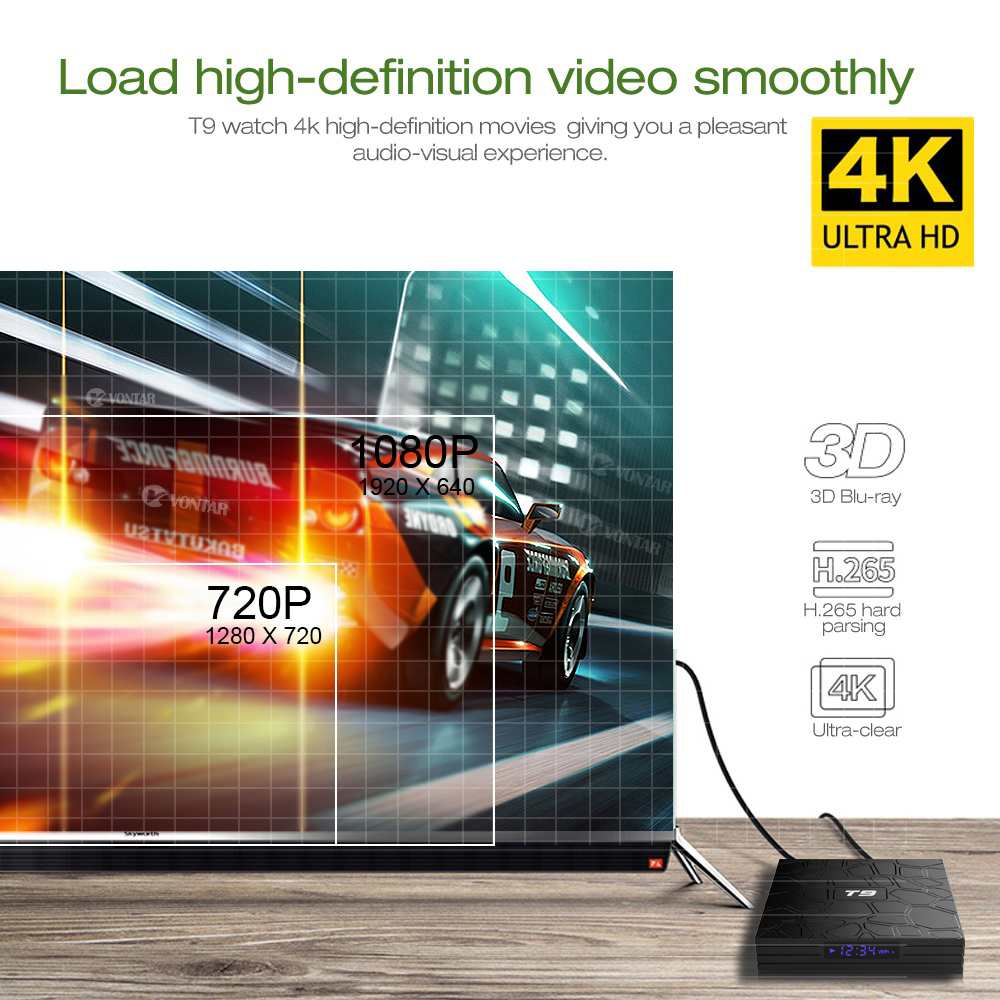Image 5 - Android 9.0 TV BOX T9 Smart TV Box 4K Quad Core Media Player 4GB RAM 32GB/64GB ROM H.265 2.4G/5G WIFI USB 3.0 TVbox Set Top Box-in Set-top Boxes from Consumer Electronics
