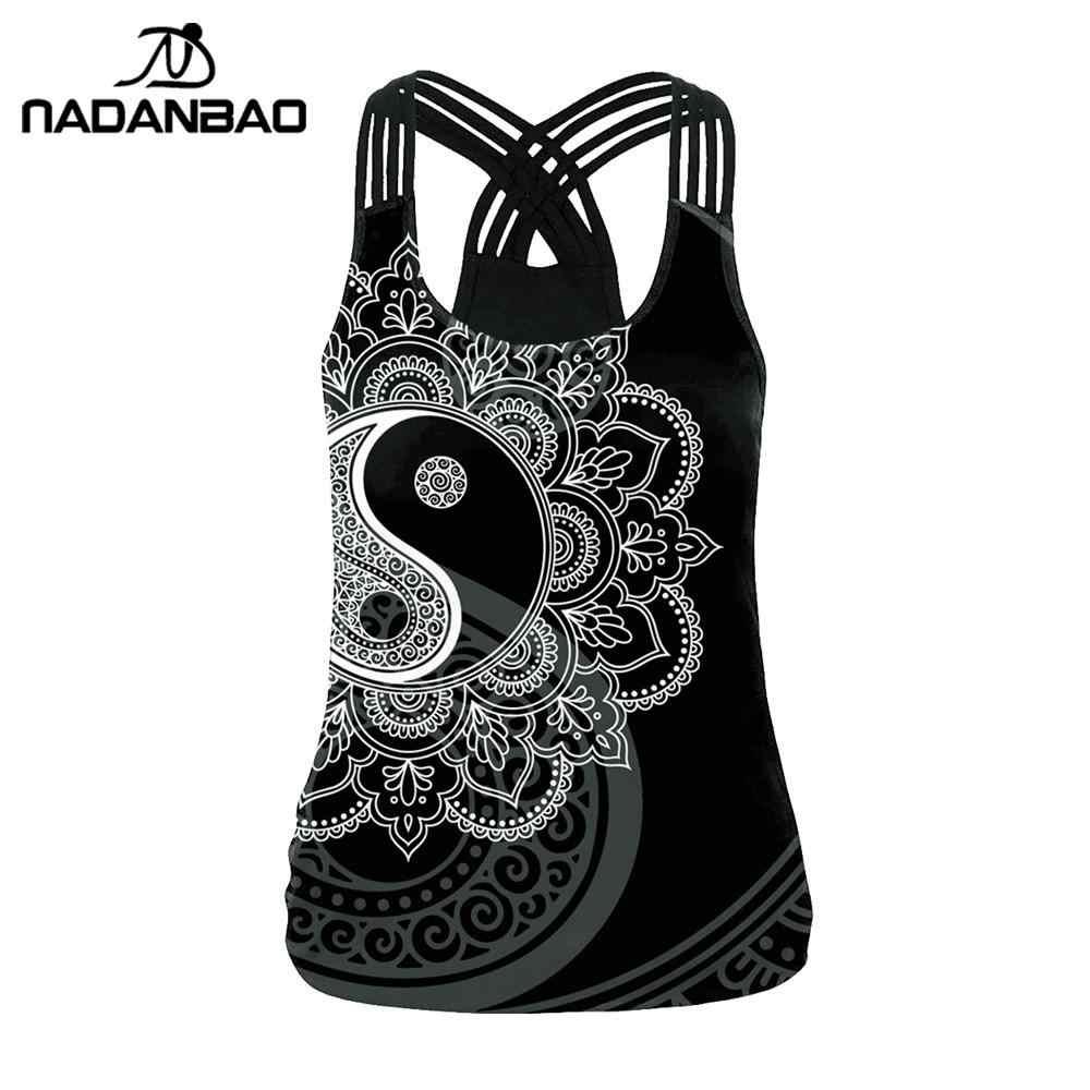 NADANBAO Die OM Symbol Mandala Frauen Weste Tops 3D Druck Aztec Runde Ombre Blume Sling Tops Mode Sexy Backless Tank top